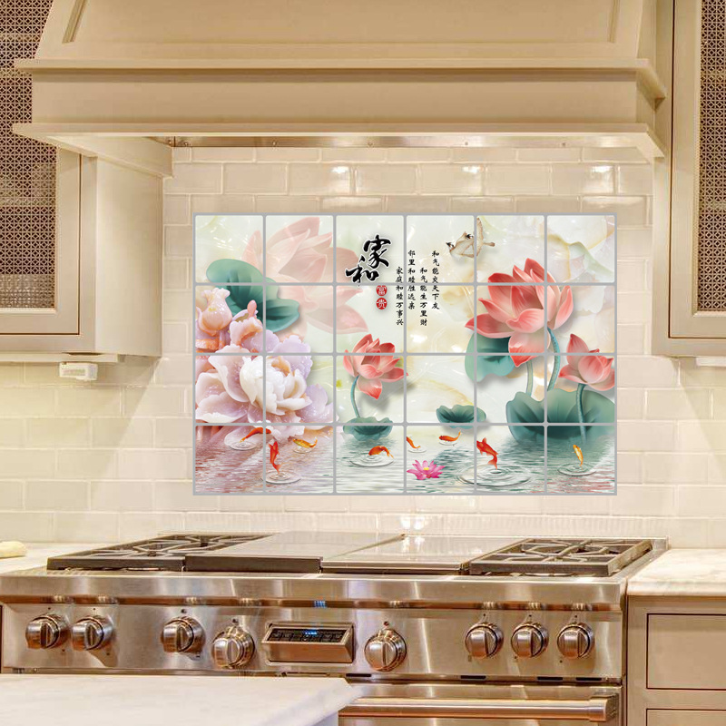 LOVE COSY Traditional Chinese Painting Lotus Kitchen Oilproof Wall ...