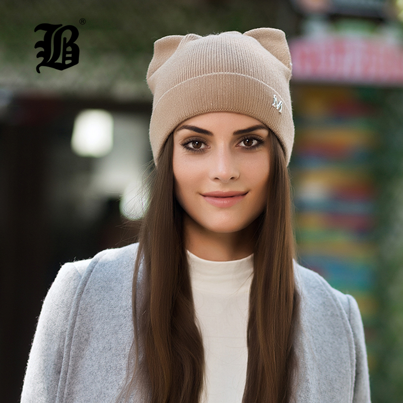 Warm Winter Hat For Ladies Cat Ears Skullies Beanie Hats With Ear Flaps Caps New