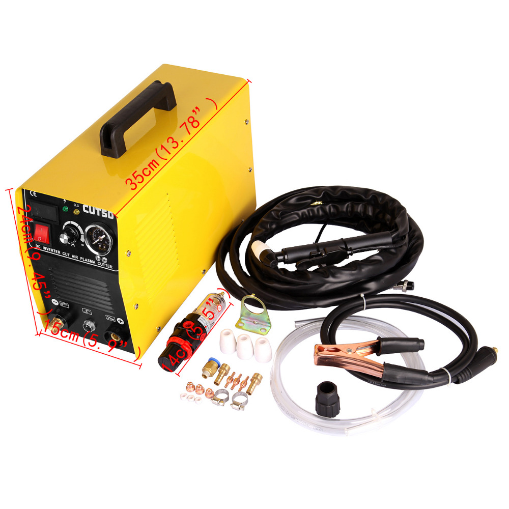 (Shipping From EU) 50A Air Inverter Plasma Cutter Air Plasma Cutter DC Inverter cutting with Pressure Gauge Welding Accessories ship from germany portable dc inverter plasma cutter with pressure gauge waterproof 5 5kva 220v