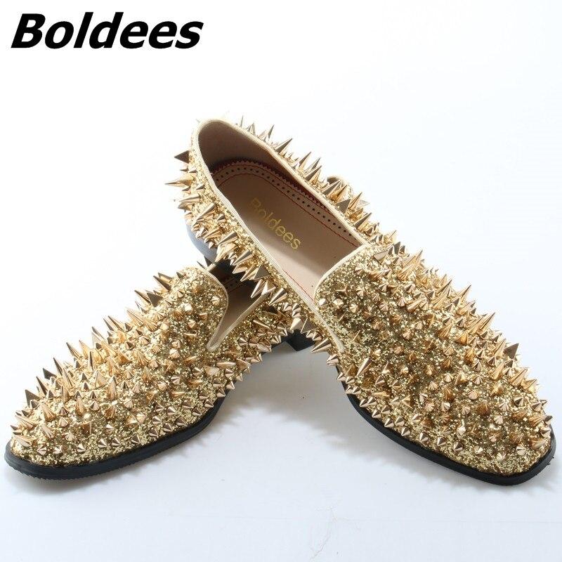Boldees 2018 Luxury Gold Spiked Men Loafers Shoes Super Stars Bling Sequins Banque Flats Wedding Shoes Slip On Rivets Men Shoes