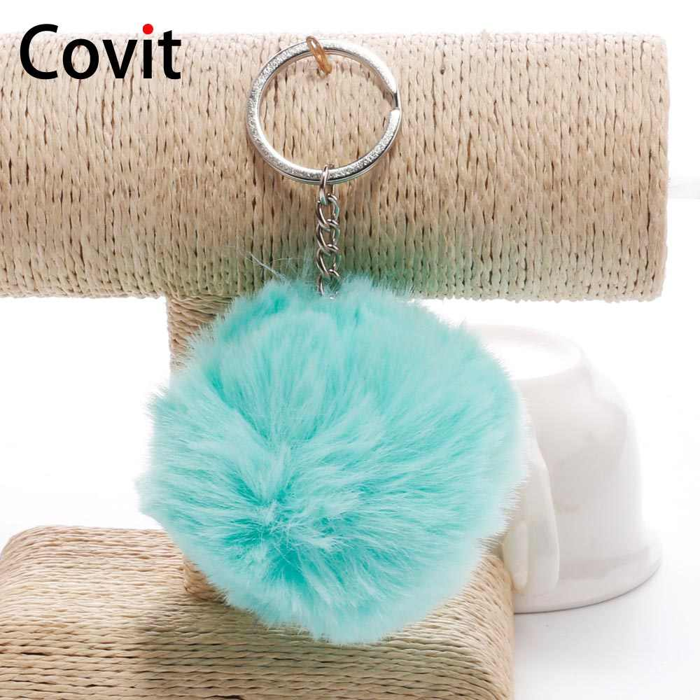 Covit 8 cm Bonito Pompom Chaveiro SoftBall Falsa Pele De Coelho Para As Mulheres Fofo Saco Carro Chaveiro Pingente Chaveiro Porte clef de Natal