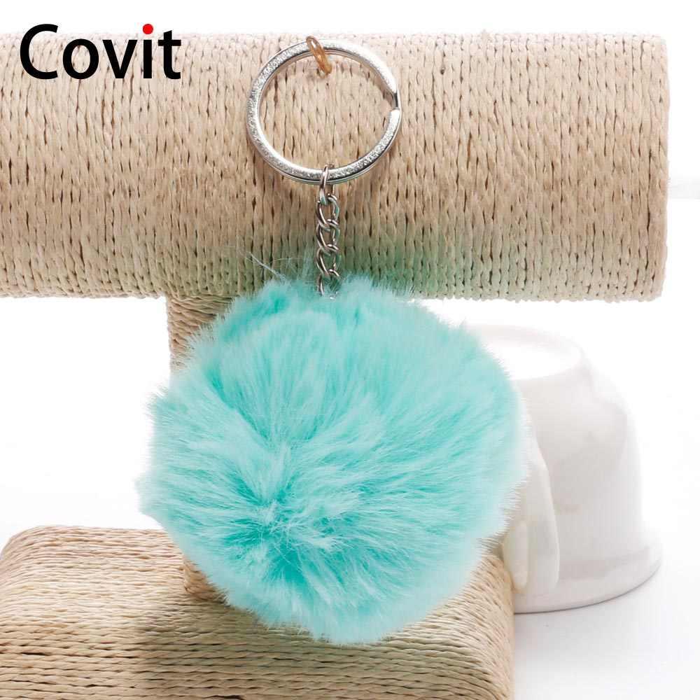 Covit 8 cm lindo pompón llavero piel de conejo falso SoftBall para mujeres bolso coche mullido llaveros llavero colgante Porte clef de Navidad