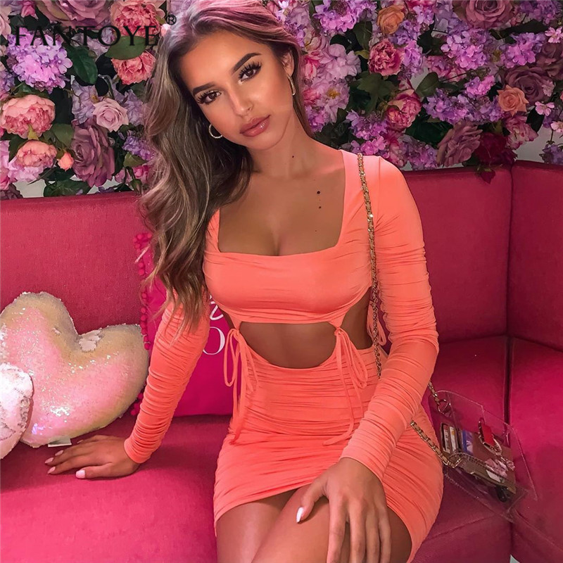 Fantoye Sexy Lace Up Low Collar Women Party Dress 2019 Solid Hollow Out Mini Bodycon Dress Slim Elastic Club Dresses Vestidos