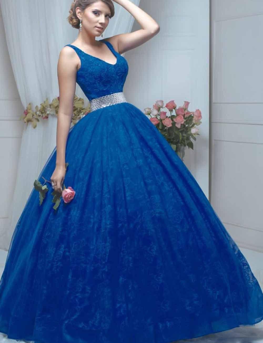 Azul real Vestidos de Quinceañera 2017 Nueva Moda V Cuello Corsé con Correa  Cristalina de la