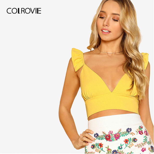 COLROVIE Solid Plunging Ruffle Strap Crop Top 2018 New Summer Yellow Women Tank Top V Neck Sleeveless Tops Tee Streetwear Cami