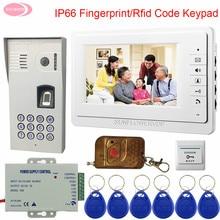 Домофоны для квартиры IP65 Водонепроницаемый 7 «цвет домофон с отпечаток пальца камеры Rfid клавиатуры + беспроводной Дистанционное управление