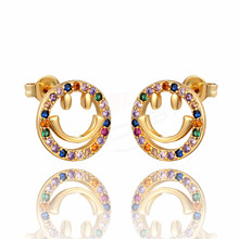 Multicolor AAA cubic zirconia round smiley earrings classic female hip hop fashion jewelry Brincos