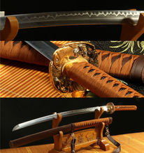 JAPANESE SWORD SAMURAI KATANA DAMASCUS FOLDED STEEL CLAY TEMPERED COPPER TSUBA