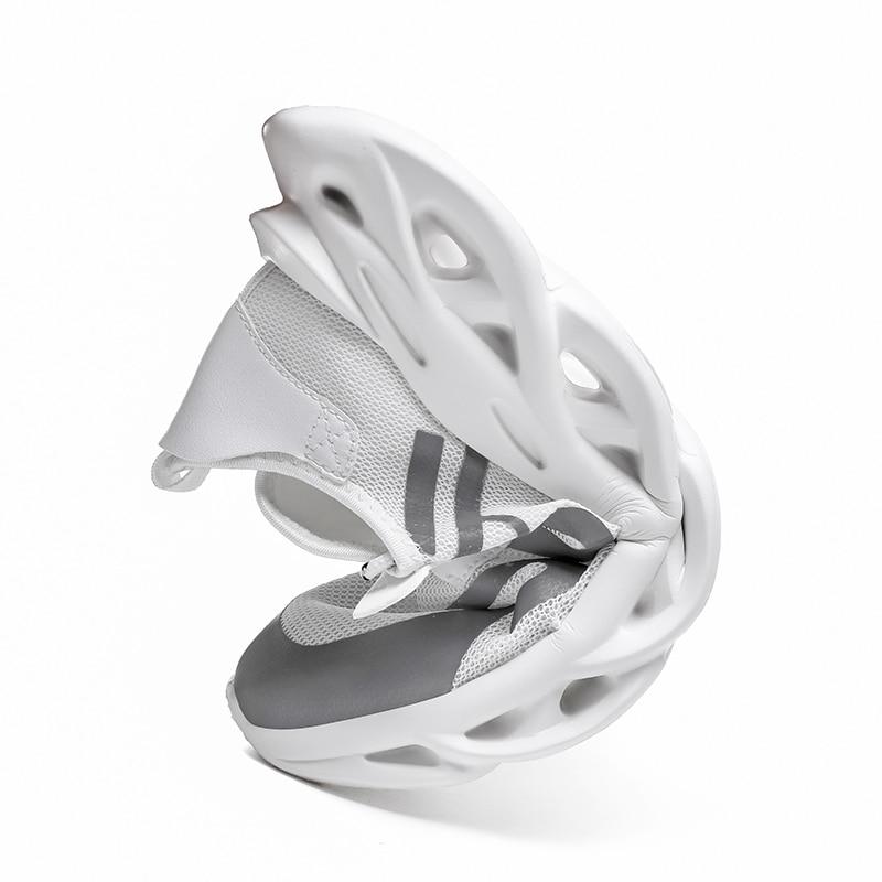 Распродажа Мужская обувь белого и черного цвета дышащая удобная спортивная обувь на плоской подошве прогулочная обувь - 6