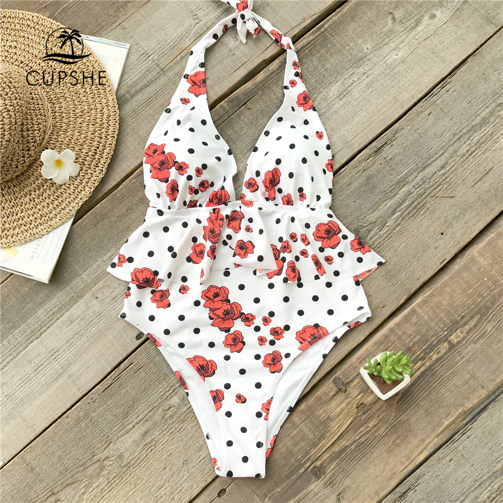04d77995c27e Detail Feedback Questions about CUPSHE Polka Dot And Red Poppy Print Ruffle  One piece Swimsuit Women Tied Bow Halter Falbala Lined Monokini 2019 Girl  ...