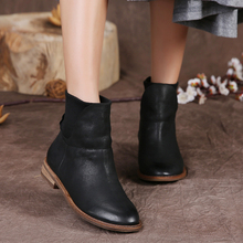 2016 Flat Heel Genuine Leather Women Boots Vintage Handmade Women Shoes Ankle Boots