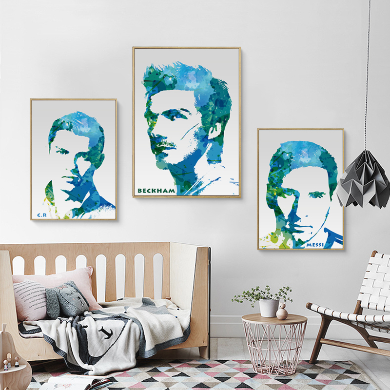 Bianche Wall Football Star Cristiano Ronaldo Messi Beck Hanmu Canvas Painting Art Print Poster Picture Wall Home Decoration