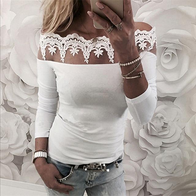 נשים צמרות חולצה סקסית פרחוני תחרה כבוי כתף רגיל חולצה סתיו אופנה ארוך שרוול Stapless Slim חולצה חולצה Blusas