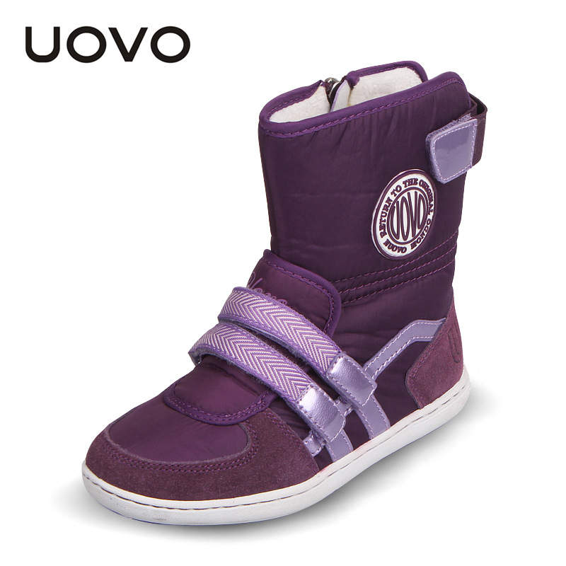 Uovo Fashion HOT Winter Boots For Girls And Boys Snow Boots Kids For Shoes Girls Mid-Calf Genuine Leather+Waterproof Cloth Boots