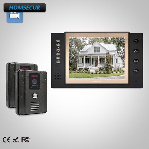 HOMSECUR 8 Wired Video Door Entry Phone Call System+Black Camera for House/Flat TC011-B + TM801R-B