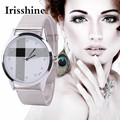 Irissshine i0520 Casual brand Luxury Women watches girl lady gift Hot New Silver Mesh Belt Watch Classic Quartz Stainless Steel