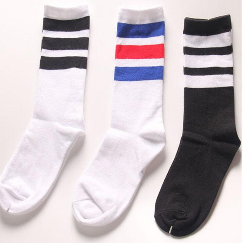 Classic Long Three Striped Skate   Socks   Retro Old School of High Quality Cotton for Men Harajuku Style White brand black