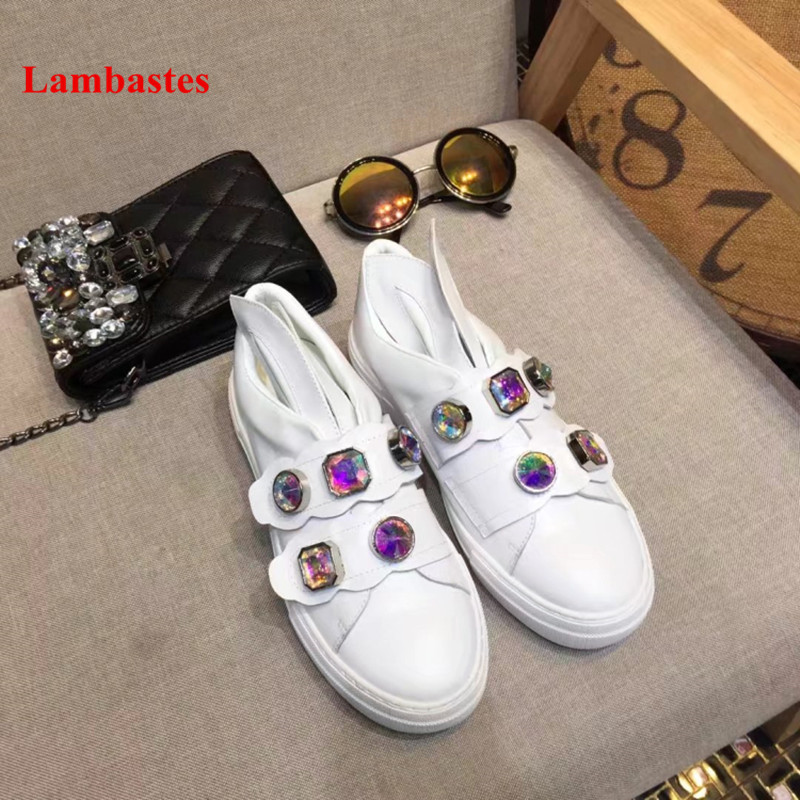 White Shoes Women Lovely Crystal Designer Hook & Loop Leather Women Flats Round Toe Platform Casual Female Sneakers Zapato Mujer стоимость