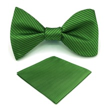 E19 Solid Green Striped Silk Mens Bowtie Fashion Ajustable Self Bow Tie Pocket Square Set Wedding