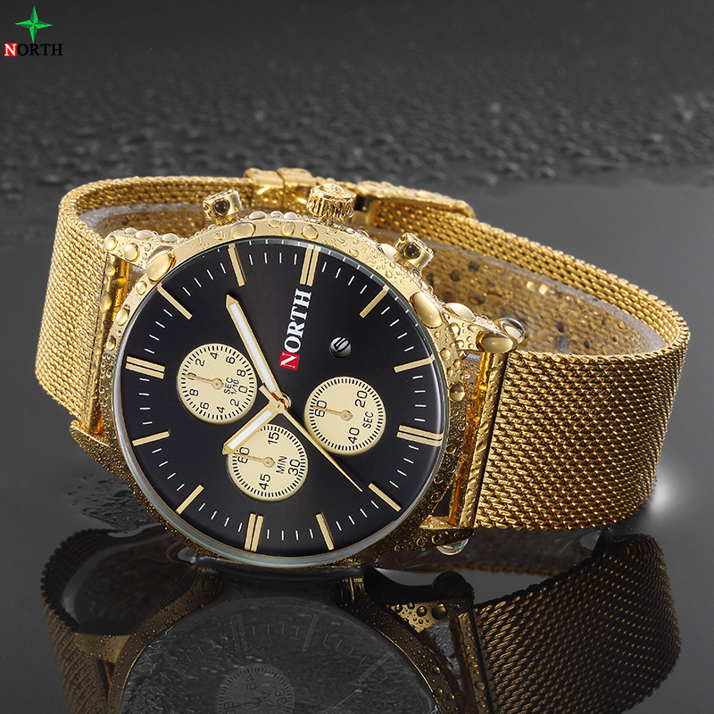 NORTH New Brand Men's Business Watch Glod Ultra Thin Stainless Steel Quartz Wristwatch Clock Fashion Watches Luxury Watch Men new arrival 2015 brand quartz men casual watches v6 wristwatch stainless steel clock fashion hours affordable gift