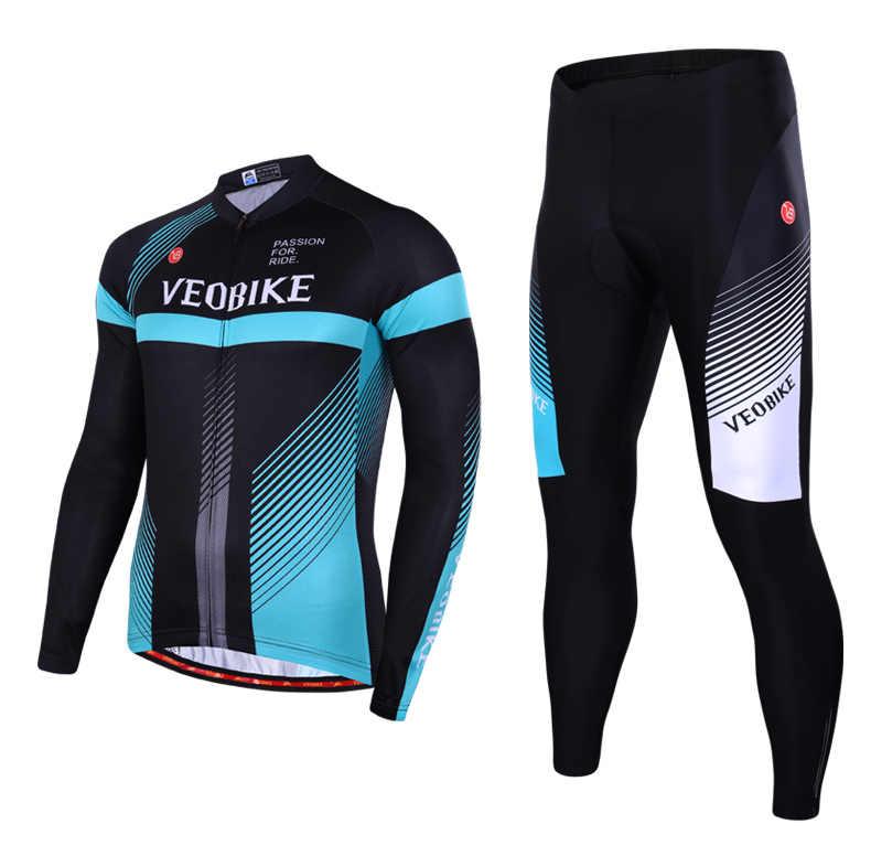 Musim Gugur Lengan Panjang Bersepeda Pakaian Pria 2019 Pro Tim Olahraga Skinsuit Balap MTB ROAD Sepeda Pakaian Bernapas Sepeda Jersey Set