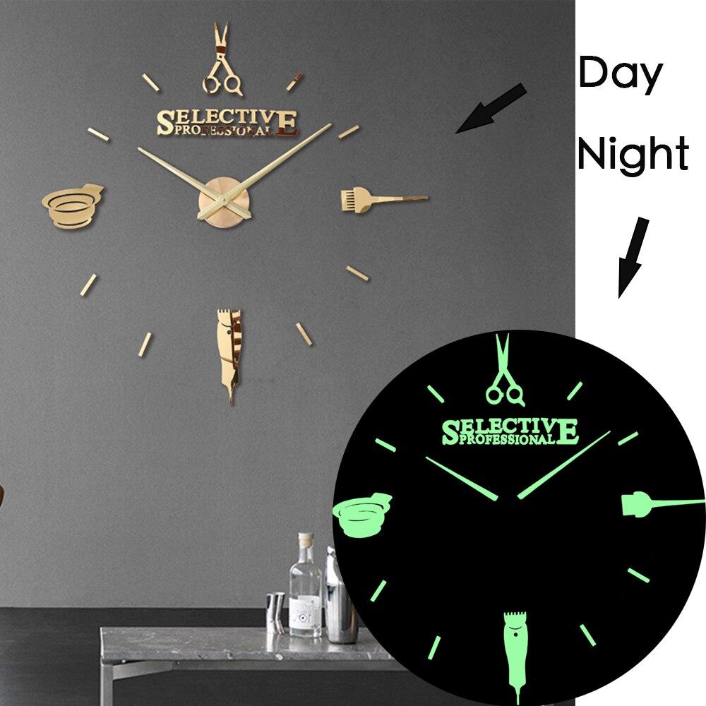 Luminous 3d Wall Clock Large Clocks Modern Design Luminova Watch Sticker Mirror Hairdresser's Hairdressing Barber's Haircut