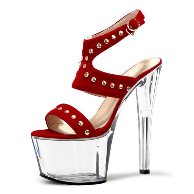 цена на Sexy high-heeled sandals shoes 17 cm rivet pole dancing shoes ankle with high heels