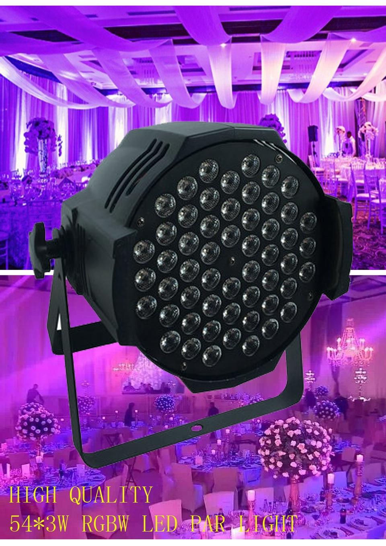 4X Rasha Top Quality DMX512 54 X3W RGBW LED Par Light RGB 3IN1 Aluminum LED Par Can For Stage Disco Event UV LED Par 64 Light