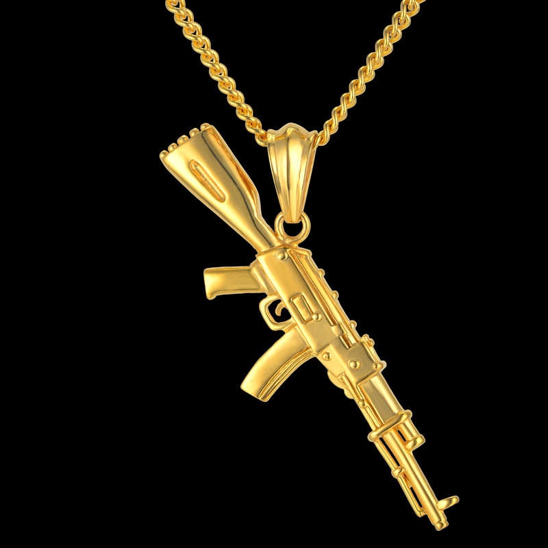 Hiphop Punk Gun Necklace Pendant Male 4Size Chain Hip Hop Jewelry Men Stainless Steel/Black/Gold Color bijoux AK47 Necklace