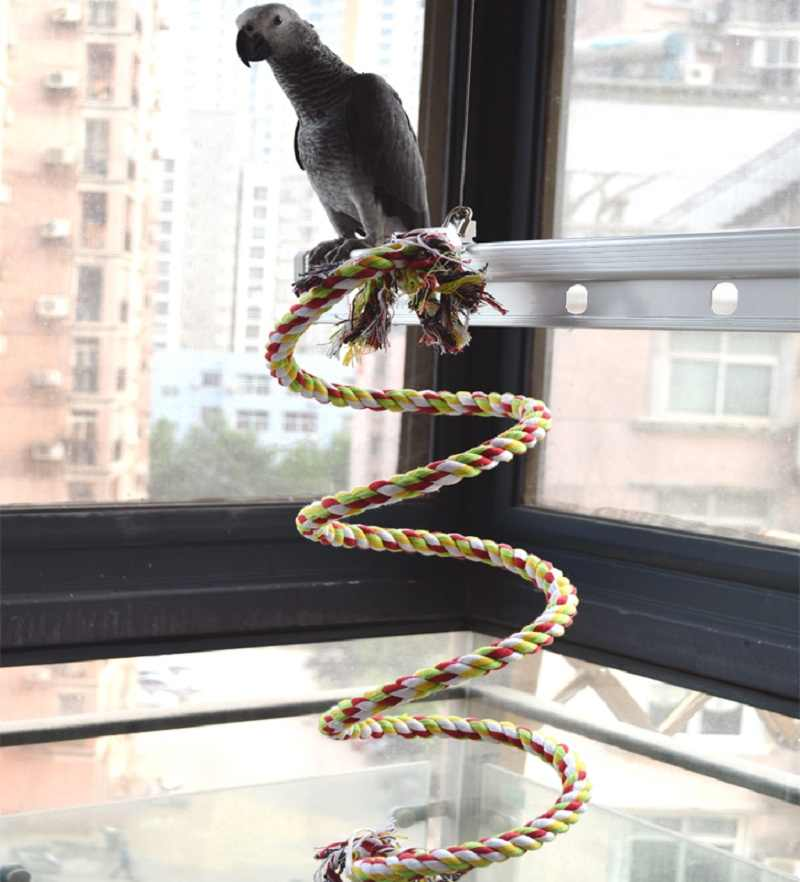 New 160cm Long Parrot Bird Toys Pet Bird Parrot Standing Rope Bird Cage Decoration Climbing Toy Parrot Bird Cage Toys Rope Bell