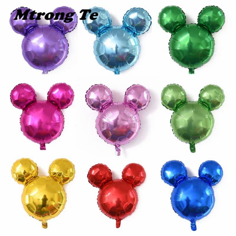 50pcs mini mickey minnie mouse head aluminum foil balloons helium globos baby shower birthday party decoration ballons supplies