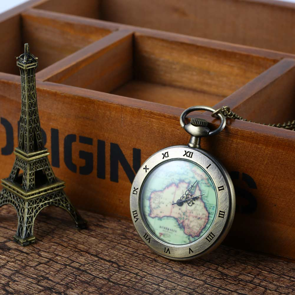 Vintage Quartz Fob Retro Antique Map Rope/Chain  Style Necklace Pendant Pocket Watch Birthday Christmas Gift LXH