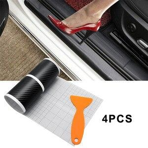 Image 1 - 4Pcs Car Door Plate Carbon Fiber Anti Scratch Stickers for kia Ceed Suzuki grand vitara SX4 Subaru Saab 9 3 Lada Alfa Romeo159