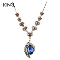 Hot Vintage Jewelry Blue Glass Pendant Necklace For Women Fashion Plating Ancient Gold Bohemia Turquoise Necklace