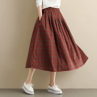 7619049045 KYQIAO Women Vintage Plaid Skirt Mori Girls Autumn Spring Japanese Style  Chic Long Red Plaid Midi