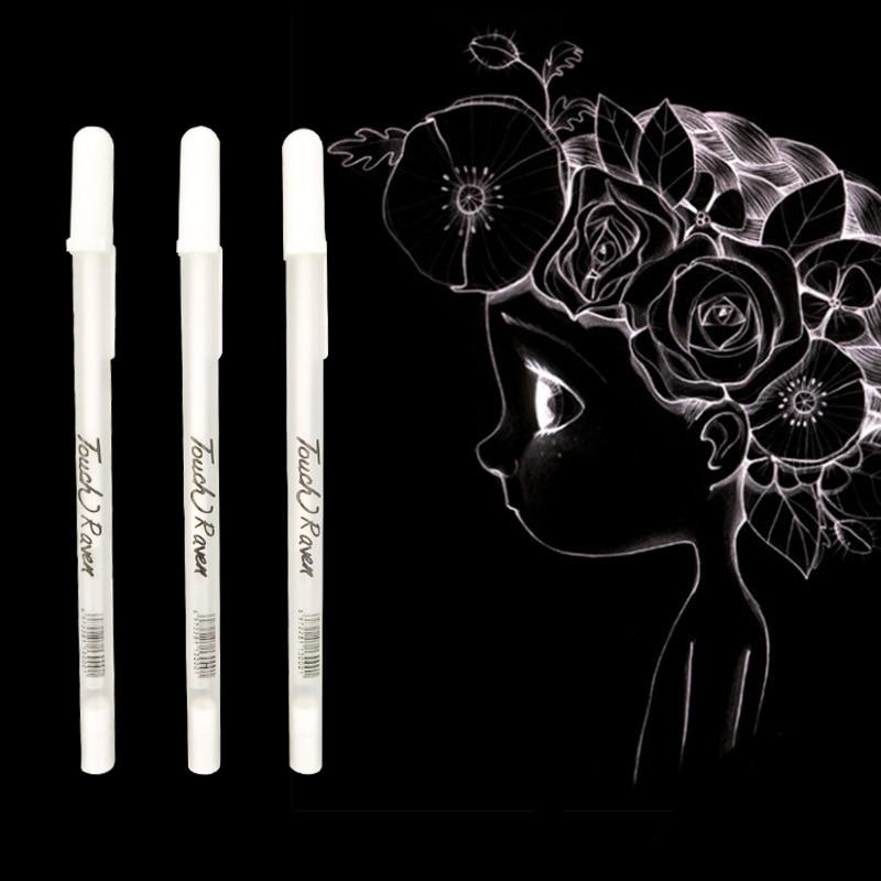 1PC 0.7MM White Highlight Gel Pen Student Sketch Drawing Graffiti Art Liner Pen For Stationery Art School Office Supplies