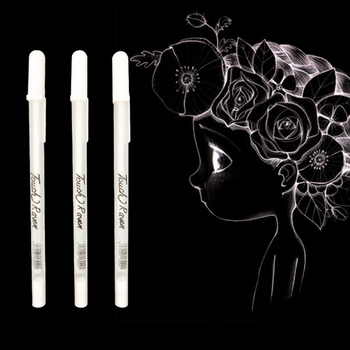 1PC 0.7MM White Highlight Pen Student Sketch Drawing Graffiti Art Markers Comic Design Hook Liner Pen Stationery Art Supplies