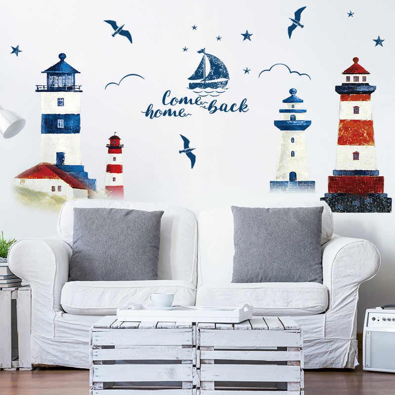 Mar veleiro Farol Adesivos de Parede decoração do quarto sala de TV sofá Fundo Mural Papel De Parede Decalques de Arte adesivo