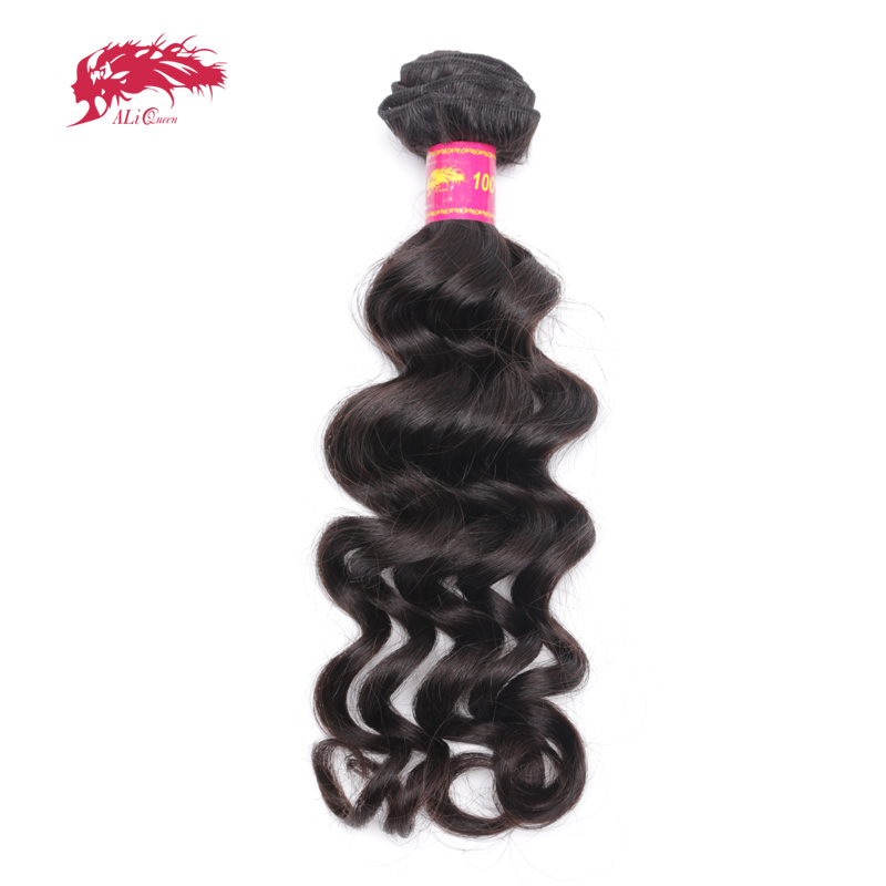 Ali Queen Hair Products Brazilian Virgin Hair Natural Wave Bundles Natural Black Color 100% Human Hair Weaving