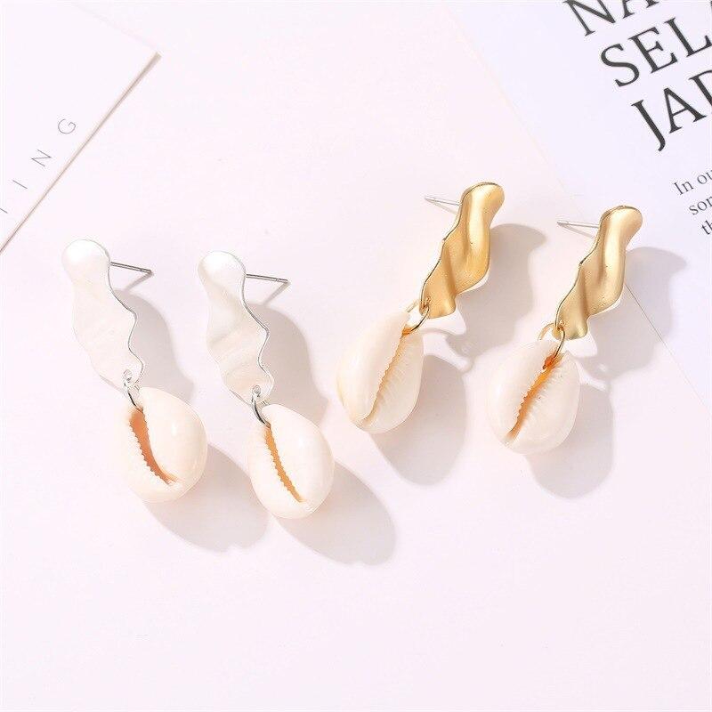 2019 Shell Pendant Drop Earrings Gold Metal Statement Earrings For Women Weddings Party Irregular Geometric Fashion Jewelry Gift in Drop Earrings from Jewelry Accessories