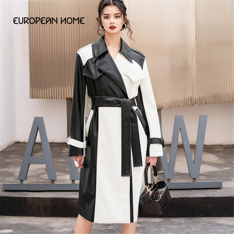 Fashion Original Plus size 2019 Spring   Leather   Coat women black white Spliced Windbreaker waist belt PU   leather   Long Overcoat