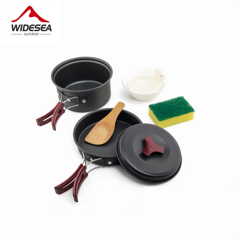 Widesea 1-2 Persons Camping Tableware Outdoor Cookware Picnic Set Travel Tableware  Non-stick Pots Pans Bowls Hiking Utensils