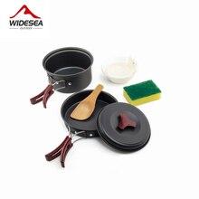 Widesea 1 2 人キャンプ食器屋外調理器具ピクニックセット旅行食器ノンスティック鍋フライパンボウルハイキング道具