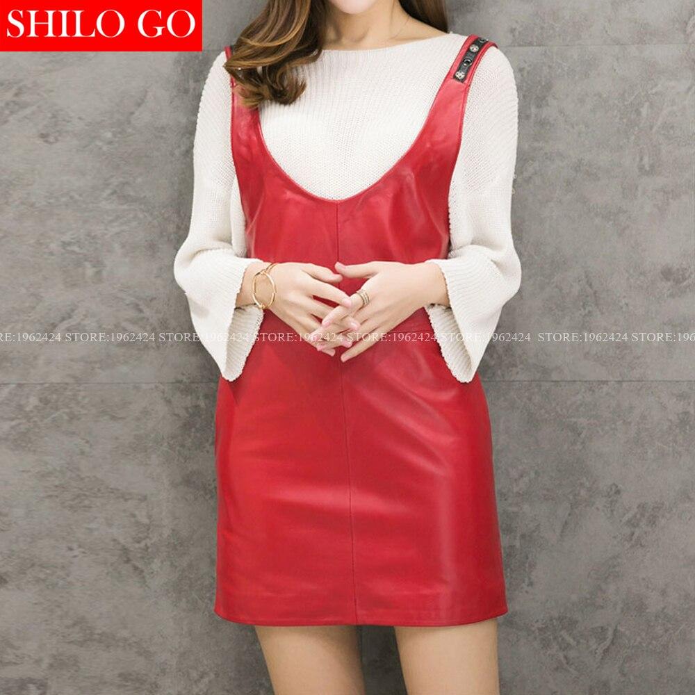 De Dames La V Peau Droite Formelle cou Sangle Mouton Véritable Robe Mode Concis Rue Cuir Bureau Des Femmes En Lâche 4qU4dgx