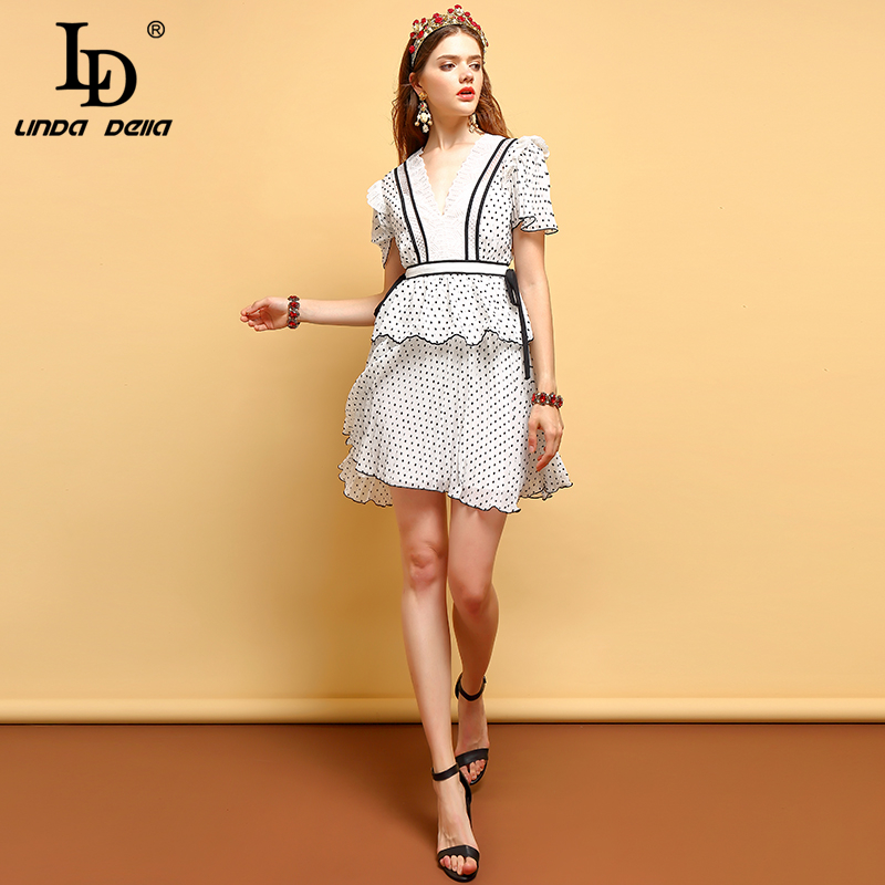 LD LINDA DELLA Bow Tie Dot Vintage Mini Dress 2019531