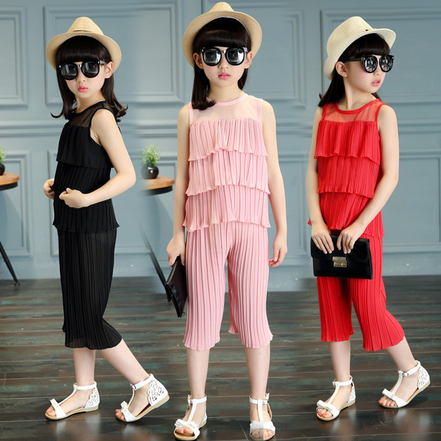 The 2016 Wide Leg Set New Tide Summer Girls Children Chiffon Two Piece Clothes Kids Baby Girl 5-14years