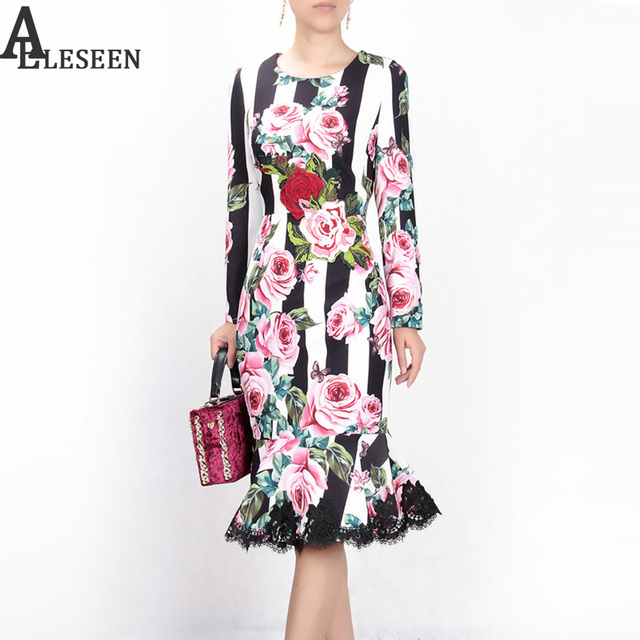 30dc771c82d Designer Sexy Long Dresses 2018 Fashion Women Autumn Full Sleeve Luxury  Rose Print Lace Vintage Mid-Calf Striped Trumpet Dress