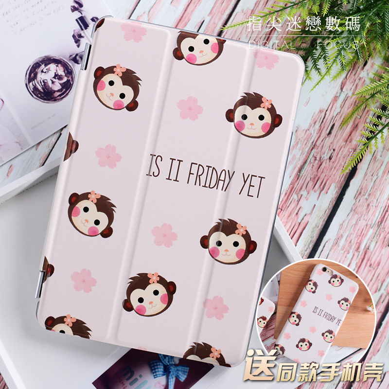 Cute Monkey Flip Cover For iPad Pro 9.7 10.5 10.5 Air Air2 Mini 1 2 3 4 7.9 Tablet Case Protective Shell For New ipad 9.7 2017 tpu silicone case for ipad mini 4 cartoon all round protective cover 3d cute soft rubber tablet coque for ipad mini 4 cover