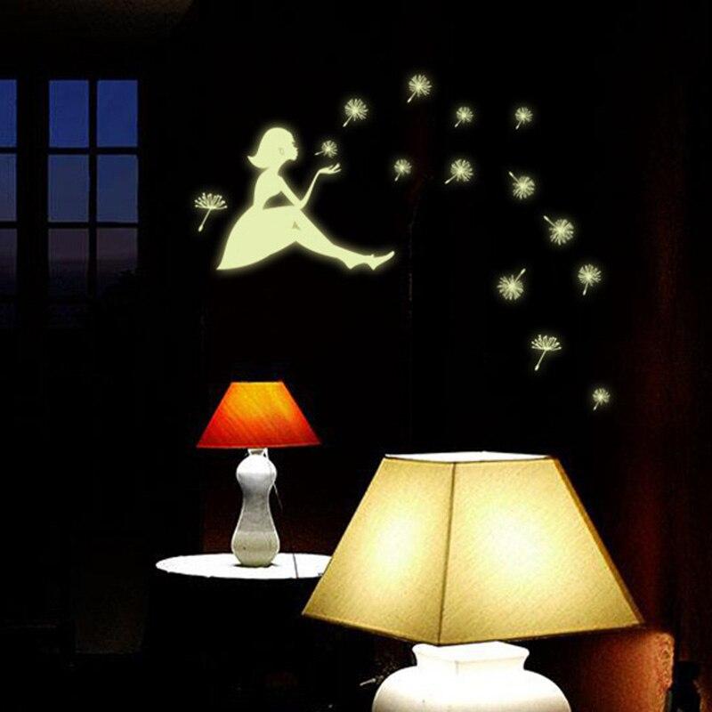 Glow стены Стикеры девушка звезды люминесцентные постоянным световой паста Стикеры s детская комната Декоративные свет ночного DA