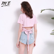 ME 2017 Women S-3XL Summer Solid Color Short SleeveT-shirts Round Neck Bow-knot Loose Tops Female Tees Casual Basic T-shirts